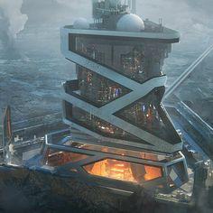 Leon tukker mining as Futuristic City, Futuristic Design, Futuristic Architecture, Amazing Architecture, Illustrations Pop, Fashion Illustrations, Sci Fi Stadt, Environment Concept Art, Environment Design