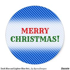 Shop Dark Blue and Lighter Blue Stripes Pattern Classic Round Sticker created by AponxDesigns. Christmas Stickers, Blue Stripes, Lighter, Dark Blue, Merry Christmas, Pattern, Merry Little Christmas, Deep Blue, Patterns