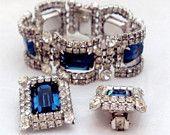 KRAMER New York Rhinestone & Sapphire Blue Rhinestone Curved Link Bracelet, Earring Set