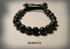 Men's Snowflake Pattern Obsidian   beads  Mala Bracelet by Olisava