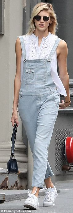 Devon looked besotted as she strolled hand in hand with her beau -  looking hot to trot in her summery denim get-up