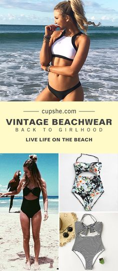 Treat yourself to something special~ Vintage beachwear will bring you back to your girlhood. One-piece, floral or stripes print, halter design, high-waisted fit... All of these will satisfy you. FREE shipping. Pack them now.