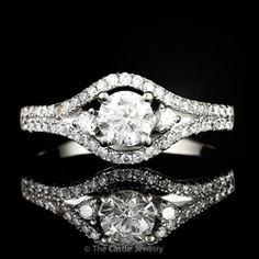 Three Stone Split Shank Diamond Engagement Ring