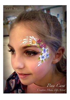 very neat, cute, and ghetto (female guests) artistry and flowers i'm very inclined to Face Painting Flowers, Girl Face Painting, Painting For Kids, Face Painting Tutorials, Face Painting Designs, Christmas Face Painting, Extreme Makeup, Parts Of A Flower, Maquillaje Halloween