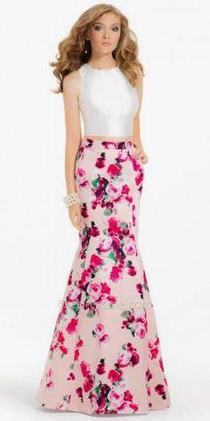 Two Piece Floral Mermaid Prom Dress by Camille La Vie  #dress #dresses #fashion #designer #camillelavie #edressme