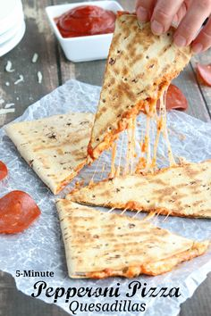 This easy Pepperoni Pizza Quesadilla recipe takes just minutes! With fiber-rich whole grains and lots of protein, it's perfect as a quick meal or a hearty power snack! {ad} | www.TwoHealthyKitchens.com