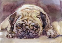 Artwork print Sad pug Watercolor Painting Dog by TheWatercolorArt