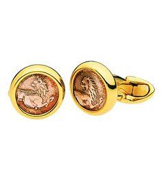 BVLGARI Monete Antiche 18ct yellow-gold cufflinks with antique coins
