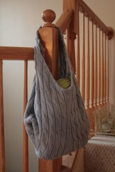 Ways To Reuse Your Old Sweaters - Make a sack for diapers, manuals, art supplies, etc.