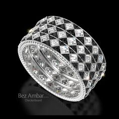 Checkerboard Eternity Ring -Black and White Diamonds