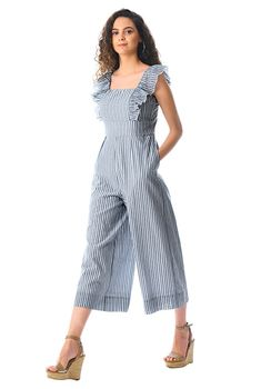 Whether you are heading out to brunch or to a weekend party, look simply chic in our stripe cotton jumpsuit trimmed with fluttery ruffles. Cotton Jumpsuit, Jumpsuit With Sleeves, Casual Jumpsuit, Jumpsuit Outfit, Formal Jumpsuit, Ruffle Jumpsuit, Stylish Dresses, Cute Dresses, Casual Dresses