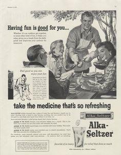 1955 Alka Seltzer Medicine Vintage Advertising Art by AdVintageCom Vintage Advertisements, Vintage Ads, Vintage Food, Retro Barbecue, Alka Seltzer, Vintage Scrapbook, Vintage Cookbooks, Vintage Christmas Cards, Vintage Recipes