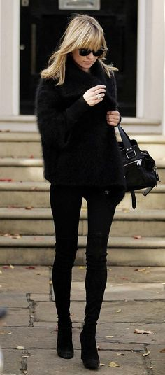 Kate Moss. All black. #fall #winter