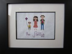 FREE SHIPPING, Custom Made Cross Stitch Portrait.