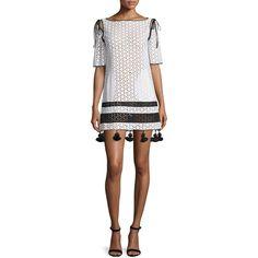 Monse Half-Sleeve Eyelet Shift Dress W/Tassel Trim (£845) ❤ liked on Polyvore featuring dresses, cotton shift dress, cotton eyelet dress, eyelet dress, white shift dress and white cutout dress
