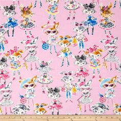 Seven Islands Runaway Bunny Pink from @fabricdotcom  From Kokka, this cotton print fabric is perfect for quilting, apparel and home decor accents. Colors include black, white, shades of grey, shades of blue, shades of pink, shades of brown, and shades of yellow.