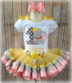 Dumbo Birthday Tutu Outfit Complete with by PurpleDaisyBoutique, $69.00