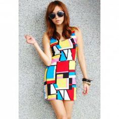 Slim Fit Scoop Neck Printing Sleeveless Mini Dresses For Women