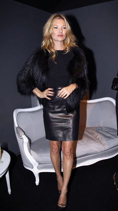 Kate Moss Style - Black fluffy jacket #womenswear #celebrity #style #outfit #fall #winter #black #leather #skirt