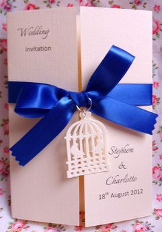 A6 Wedding Invitations With Ribbon Bow & Birdcage or Heart Filigree Card Charms | eBay