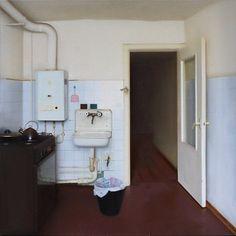 Denis Ichitovkin - Kitchen. Oil on canvas, 110 x 110 cm.