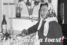 Let's raise a toast!  Postcard by Wars Sawa Design, Warszawa, Warsaw, Memories of PRL.