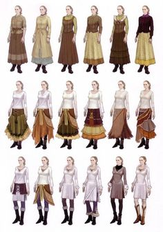 Ways to wears skirts and tops in layers and combinations. Ways to wears skirts and tops in layers and combinations. (Originally from Devil May Cry 4 Art Book. Medieval Dress, Medieval Clothing, Medieval Fantasy, Larp, Mode Inspiration, Character Inspiration, Costume Viking, Medieval Costume, Anime Outfits
