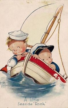 Béatrice Mallet card Boys in a boat Vintage Greeting Cards, Vintage Postcards, Vintage Pictures, Vintage Images, Rock Couple, Art Mignon, Cute Images, Beach Art, Cute Illustration