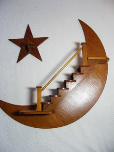 Vintage Folk Art 60s Moon Star Curio Staircase Shelf Set - Handmade Wooden…