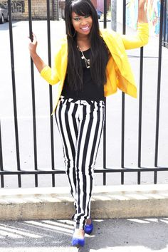 Yellow Blazer and striped pants - Love the Look