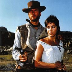 Clint Eastwood and Marianne Koch in a Fistful of Dollars