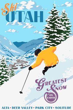 VINTAGE 1960s ALTA UTAH MOUNTAIN SKI POSTER  SNOW SKIER  ORIGINAL SKIING PRINT
