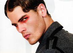 Mens makeup. Simple. Red shadow. Fingerwave.