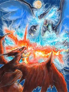Mega Charizard Battle Commission by Pixelated-Takkun on DeviantArt Mega Pokemon, Pokemon Charizard, Eevee Evolutions, Pokemon Pins, Pokemon Comics, Pokemon Fan Art, Cute Pokemon, Pikachu, Pokemon Kalos