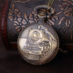 Embossed Running Steam Train Pocket Watch Chain Bronze Metal Dress Casual Men Women Fob Watch Antique Fashion Pedant Montre Cheap Watches, Unisex Fashion, Quartz Watch, Fashion Watches, Pocket Watch, Retro Fashion, Men Casual, Bronze, Chain
