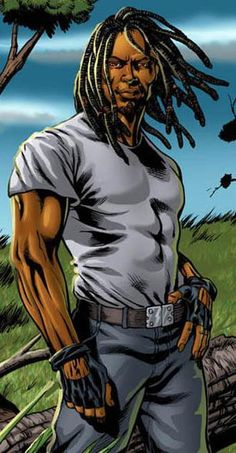 Drew McIntosh aka Rasta Man; black superhero of Jamaica from Dread & Alive comic book series. Possesses the sacred Maroon Medallion, which gives him Lupine abilities such as sharp claws and fangs, enhanced senses of hearing, touch, taste and smell. He also has the ability to heal the wounds of others with a touch.