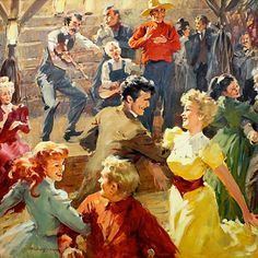 American Square Dances of The West & Southwest - online instruction book With Calls, instructions, diagrams, steps & sheet music. Old Country Music, Country Dance, Country Art, Folk Dance, Dance Art, Dance Music, Barn Dance Party, Illustrations, Illustration Art
