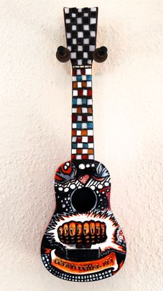 Knuckle Tattoo Inspired Glass Mosaic on Ukulele by Mixed-Media Artist, Jenna Alderton. Ukulele Art, Guitar Art, Uke Strings, Painted Ukulele, Knuckle Tattoos, Flutes, Mixed Media Artists, Custom Paint, Mosaic Glass