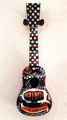 Knuckle Tattoo Inspired Glass Mosaic on Ukulele by Mixed-Media Artist, Jenna Alderton. Ukulele Art, Guitar Art, Uke Strings, Painted Ukulele, Knuckle Tattoos, Flutes, Mixed Media Artists, Custom Paint, Mosaic Glass