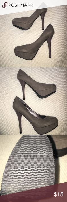 Faux suede gray platform heels Never been worn before gray platform heels! Match perfectly with any dress or skinny jeans. The heel is shiny while the rest of the shoe is faux suede. Make an offer! Shoes Heels