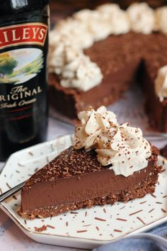 A Rich and Luxurious Baileys Chocolate Tart with a Chocolate Biscuit Shell, Rich Baileys Chocolate Ganache Filling, and Baileys Whipped Cream on top! Tart Recipes, Sweet Recipes, Baking Recipes, Dessert Recipes, Other Recipes, No Bake Desserts, Christmas Recipes, Healthy Recipes, Chocolate Baileys