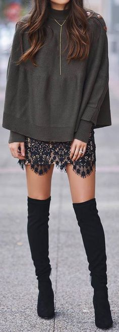 cute spring outfit idea with over the knee boots