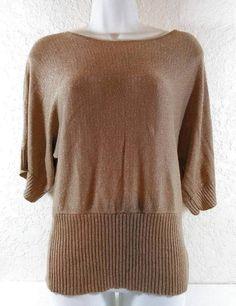 SPENSE Size Medium Gold Dolman Blouse Shimmer Short Sleeves Stretch Ladies B232 #Spense #Blouse #Casual