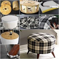 How to DIY Shelly& Salvaged Spool Ottoman ---- More DIY Ideas ---- This plaid ottoman looks so adorable for home that you cannot believe it was made of recycled wire spool. It is so well repurposed that it's like… Handmade Ottoman Using A Wire Spool C Furniture Projects, Furniture Making, Furniture Makeover, Diy Furniture, Bedroom Furniture, Art Projects, Ottoman Furniture, Chair Makeover, Handmade Furniture