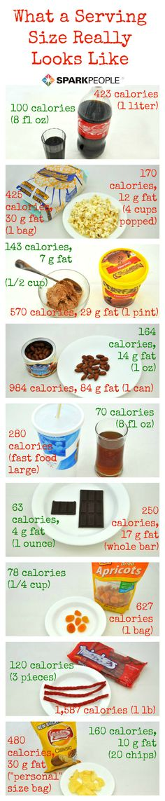 What a Serving Size Really Looks Like - this reminds me of lessons from Sheryl B when we were both minding our calories. Healthy Habits, Get Healthy, Healthy Tips, Healthy Choices, Healthy Snacks, Healthy Recipes, Eating Healthy, Clean Eating, Fitness Nutrition