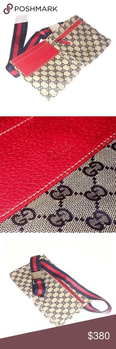 Authentic Gucci Monogram GG Red Waist Pouch Authentic Gucci Monogram GG Red Waist Pouch  Includes Gucci Dustbag  Made in Italy  Monogram GG Canvas, Red Leather Trim, Silver-Tone Buckle Two Front Pockets, Large Rear Zip Compartment Gucci Bags
