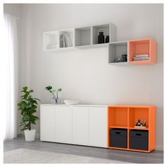 EKET Cabinet combination with feet IKEA Hide or display your things by combining open and closed storage. At Home Furniture Store, Modern Home Furniture, New Furniture, Cabinet Furniture, Buffet Bas Ikea, Ikea Hallway, Hallway Ideas, Ikea Eket, Living Room Storage