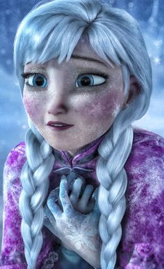 I'm amazed at the details Disney did when Anna was freezing to death.  There are snowflakes forming one her hands and her face, and her clothes are icing over.  She looks so cold.