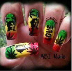 gel nail designs I really love Bob Marley Nails, Best Acrylic Nails, Acrylic Nail Designs, Nail Art Designs, Duck Nails, My Nails, Crazy Nails, Blue Nail, Homecoming Makeup