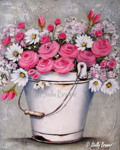 Stella Bruwer white enamel bucket of daisies and pink roses Decoupage Vintage, Fabric Painting, Painting & Drawing, Photo Vintage, Jolie Photo, Naive Art, Pictures To Paint, Painting Inspiration, Flower Art